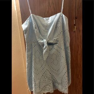 Light blue eyelet romper with tie